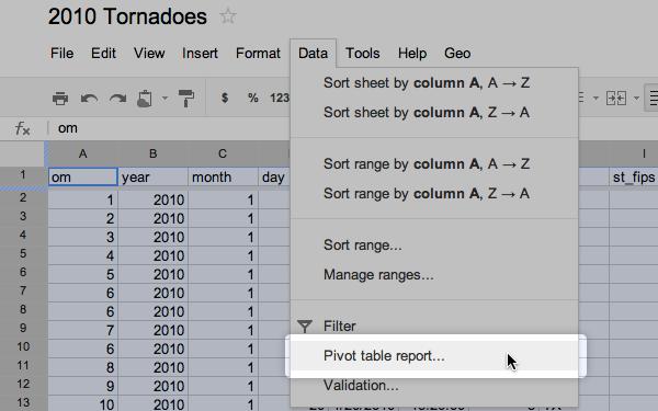 Preparing data with Google Docs | TileMill